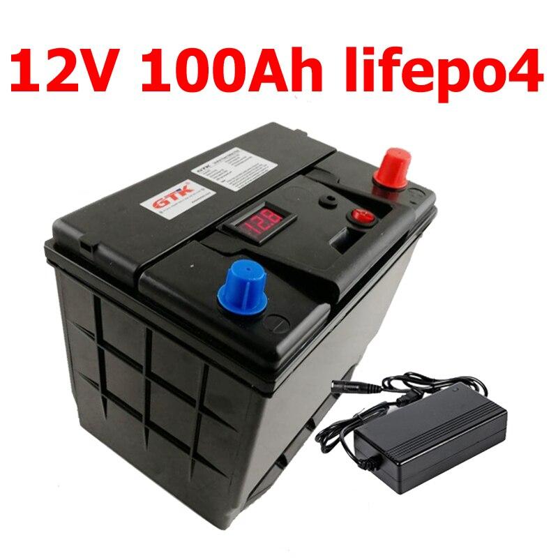 GTK batería de litio 12V 100AH lifepo4 con 100A BMS 4S 12,8 V para 1200W inversor de energía de reserva RV barco MPPT Solar AGV + 10A cargador