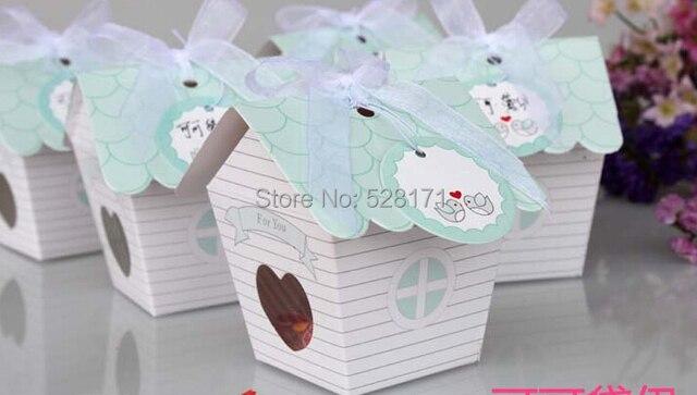 Free Shipping 20PCS Mini Love Nest Bird House Baby Shower Candy Box Wedding Boxes