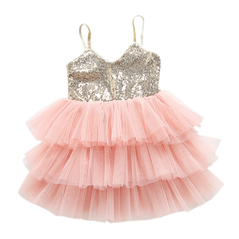 Baby Girl Princess Dress Layered Bling Vestidos Wedding Dress For Girls Kids Clothes Children Clothing Sleeveless Sequin Tutu