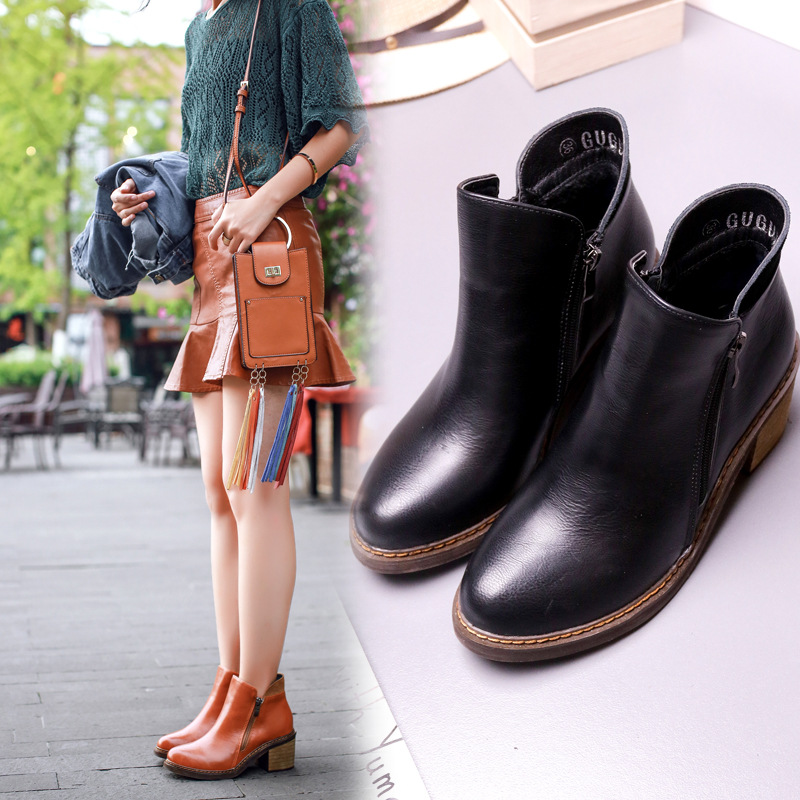 product Autumn Women's Boots Ankle Boots For Women 2016 European Vintage Style PU leather Round toe Short Boots Shoes Women Black/Brown