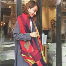 Ideacherry Scarf Women New Arrival Europe Tartan Scarves Tartan Print Sided Dual-use Scarf Blanket Oversized Wrap Winter Scarf