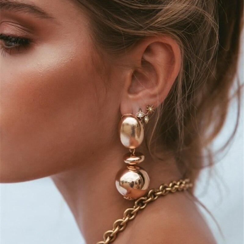 AOTEMAN 2019 Fashion  Bohemian ZA Metal Multicolored Drop Dangle Earrings For Women Geometric Vintage Wedding Party Gifts