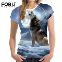 FORUDESIGNS 2017 Fashion Women T Shirt Crop Tops 3D Wolf Design T Shirt Woman Short Sleeved