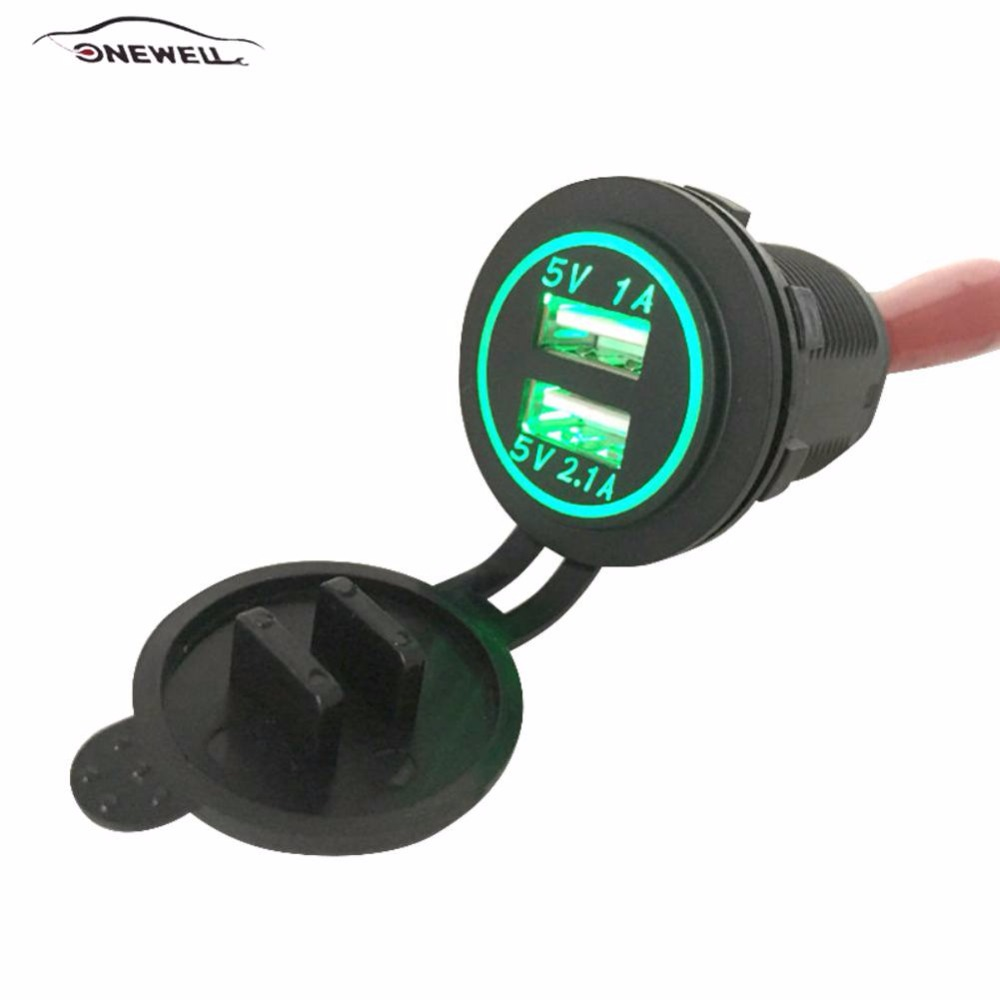 5V 2.1A Car Charger Waterproof Dual USB Power Outlet Yacht Bus Power Adapter Charging For SUV Boat