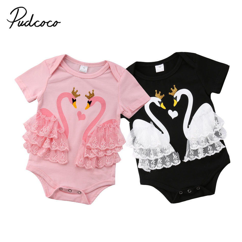 2018 New Infant Baby Girls Swan   Romper   Princess Lace Cotton Jumpsuit Newborn Baby Girls Summer Clothes