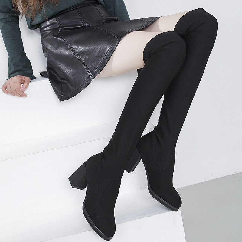 2016 Wholesale Winter Women Boots Over the Knee High Quality Elastic Fabric Leather With Fur Ladies Heels Shoes Zapatos Mujer