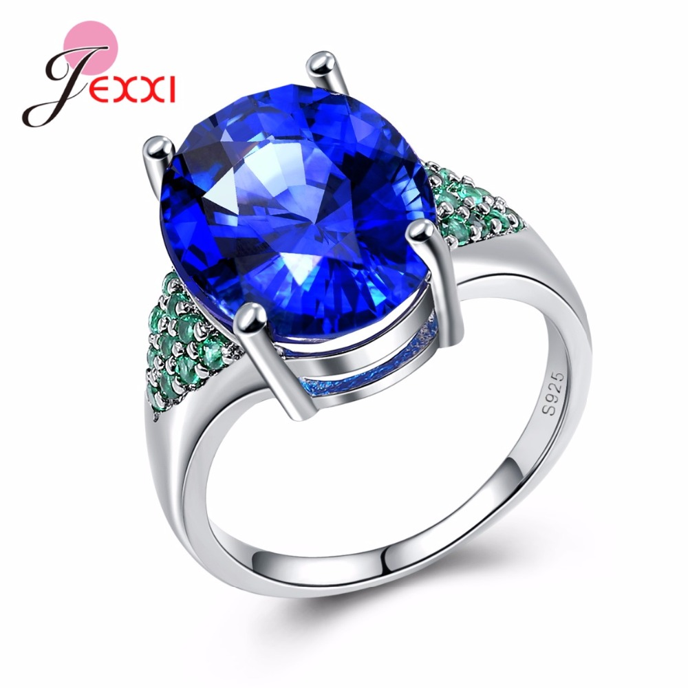 JEXXI Hot Soild 925 Sterling Silver Round Blue Austrian Crystal Wedding Engagement Rings For Female Gift Women Ring Jewellery