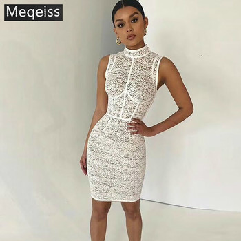 MEQEISS Summer Bodycon Dress 2018 Women White Lace Dress Sleeveless Sexy See Though Dress Club Bodycon Wholesale HL