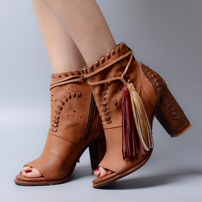 2017 Vintage Open Toe High Heel Cowboy Booties Mujer Fringe Embellished Lace Up Ankle Boots Wedding Party Dress Shoes Women 1 design laser cut white elegant pattern west cowboy style vintage wedding invitations card kit blank paper printing invitation