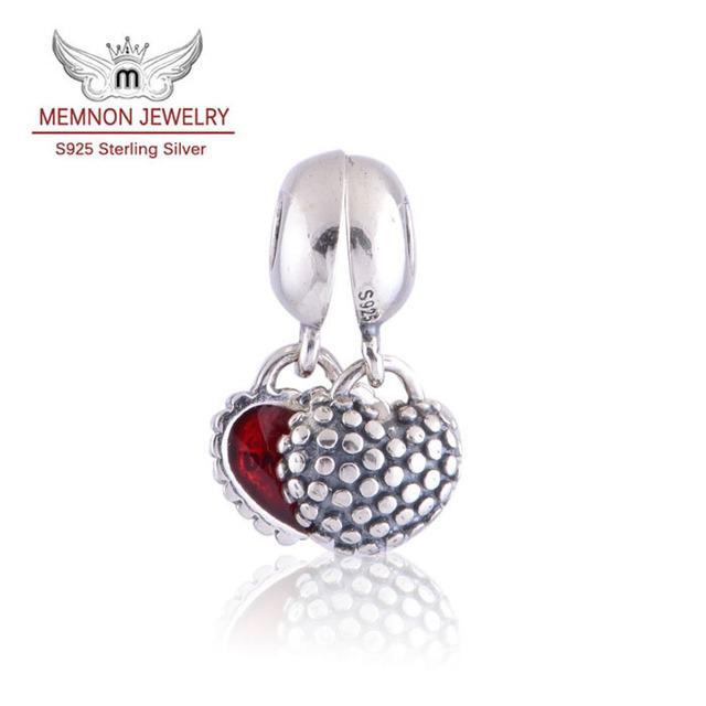 925 joyería de plata esterlina encanto Madre e Hija con Esmalte Rojo del corazón cuelga los encantos DIY assessories joyería Fina LW087