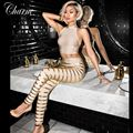 2016 new fashion gold silver oil print striped bandage pants top two pieces club celebrity party wear women sexy bandage set