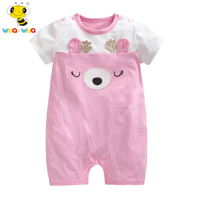 Wua Wua Baby Girl Summer Rompers Cartoon Newborn Breathable Outfits Girl Dress Cotton Infant Baby Clothes Roupas Bebe Jumpsuits