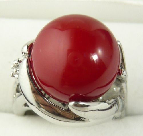 Free shipping@@@@@ nice 18KGP Red Coral ring size AAA Grade 4size choose