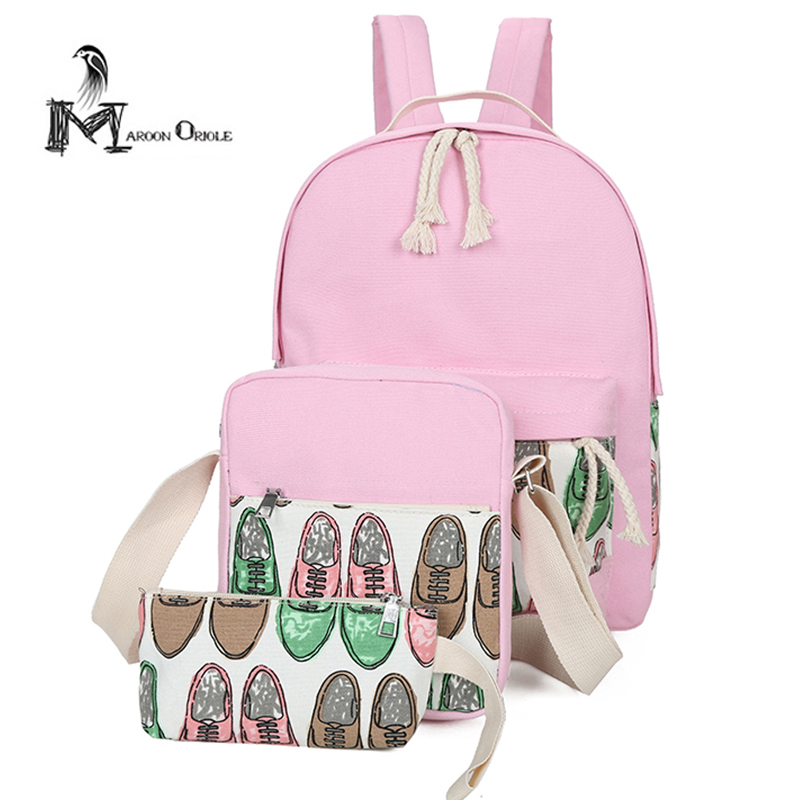 Women bag 3 set printing canvas backpack baby pink canvas bag 3pcs women canvas set backpack
