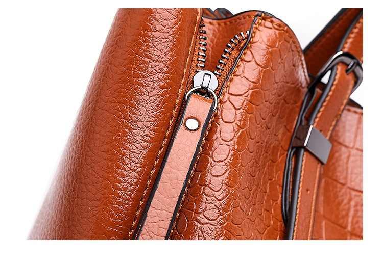 Moda feminina padrão bolsas de couro genuíno sacos para as mulheres 2019 feminino mensageiro casual senhoras ombro crocodilo saco n415