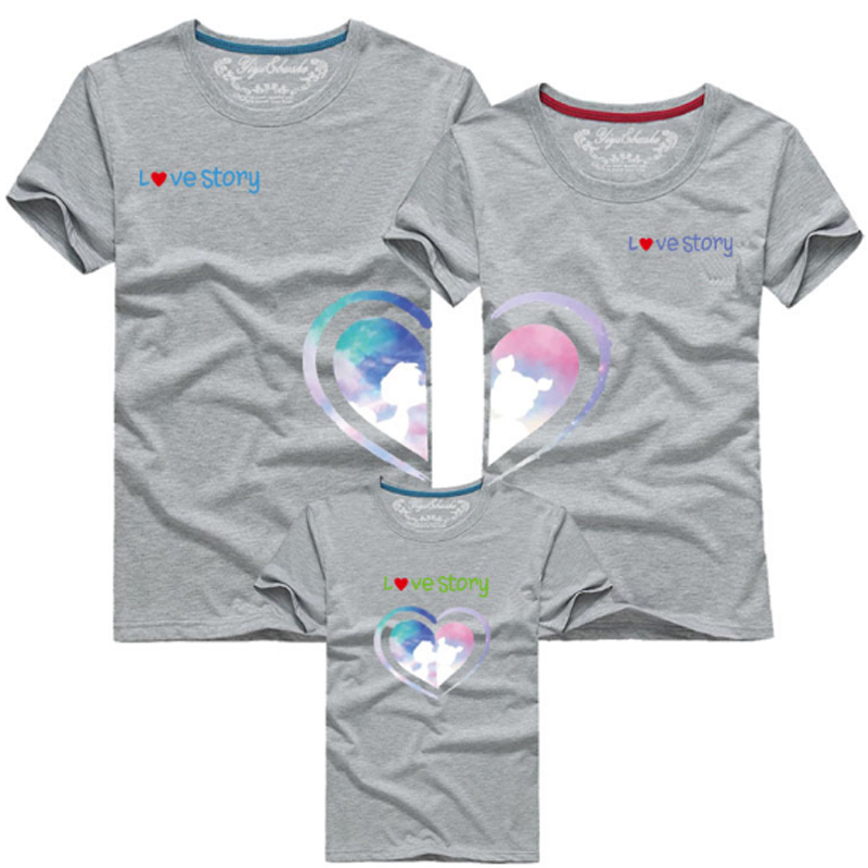 Hot Sale 2018 Summer Cotton Matching Clothes Joint Love Printing Family Look T Shirt Fathe