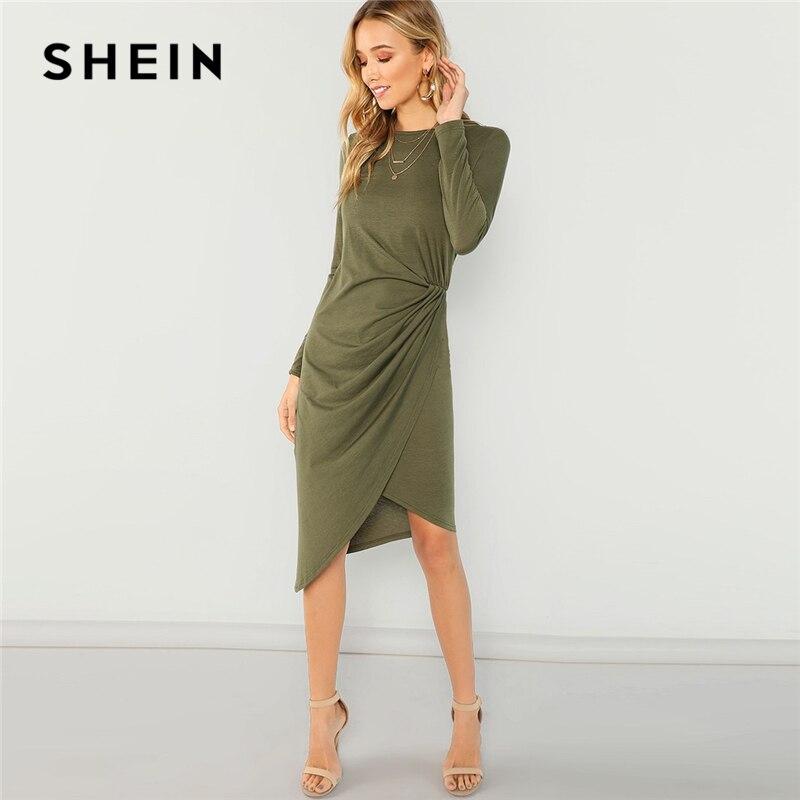SHEIN Army Green Elegant Casual Draped Asymmetric Natural Waist Long Sleeve Solid  Dress 2018 Autumn Party 95dd82e87132