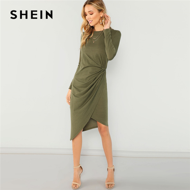315ca1f0dd SHEIN Army Green Elegant Casual Draped Asymmetric Natural Waist Long Sleeve  Solid Dress 2018 Autumn Party Women Dresses