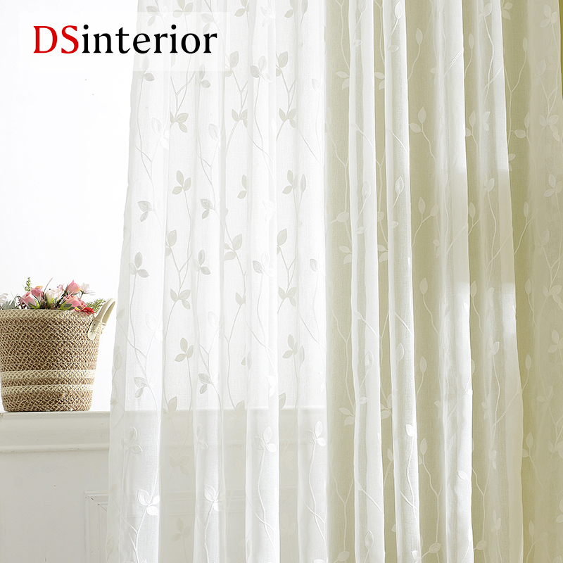 Living Room Big Window Glass Shelves In Dsinterior White Embroidered Curtains Sheer For ...