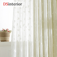 DSinterior White Embroidered Curtains Sheer Curtains for Living Room Window