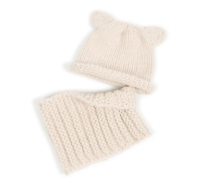 Cashmere hand woven padded baby ear cap child thick stick knit wool hat collar set