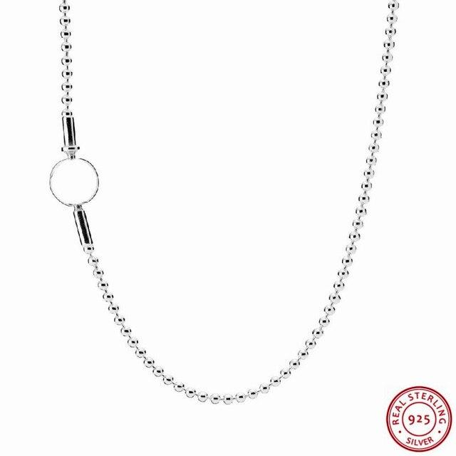 エッセンスコレクション925スターリングシルバービーズリンクチェーンロングネックレス女性ジュエリーのためのラウンド象徴的なロゴクラスプFLB009