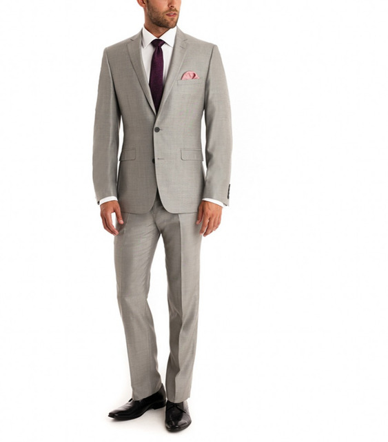 Nova Chegada de Um Botão Terno dos homens Do Noivo Smoking Notch Lapela Padrinho de casamento Rosa Quente/Melhor Homem Casamento/Jantar ternos (Paletó + Calça)