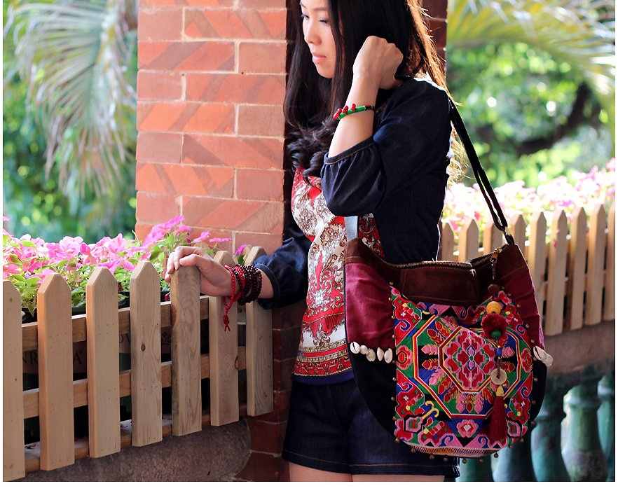 New Arrival! Thai Style Embroidry Leather Shoulder Bag Hmong Embroidered  Canvas Handbag Mesager Bag Personalized Boho-in Shoulder Bags from Luggage    Bags ... 0ad0a7517f697