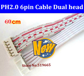 100pcs/lot  JST PH2.0mm 2.0  terminals cable  connector female  wiring 6pin 60cm Dual Head connector  on each end