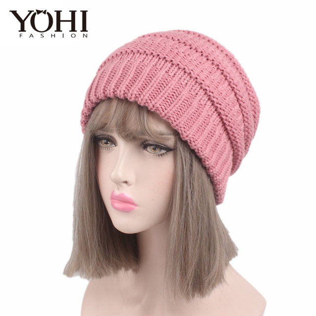 New Fashion Winter Women s popular beanies hats girls lady hat Tail Soft  Stretch High Bun Ponytail 33b520020
