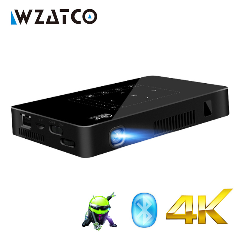 WZATCO P10 Android 2g 16g WIFI Bluetooth full HD 1080 p 4 k LED Mini Projecteur Portable Intelligent home Cinéma de Poche Proyector Beamer