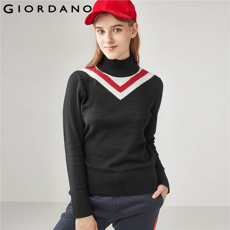 Giordano Women Sweater Contrast Color Turtleneck 100 Soft Cotton Sueter