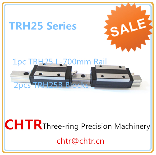 CHTR linear shaft support rail linear guide carriage (1pc TRH25 L=700mm  linear rail+2pcs TRH25B linear carriage blocks) linear transmission pillow block linear guide support carriage trh30b