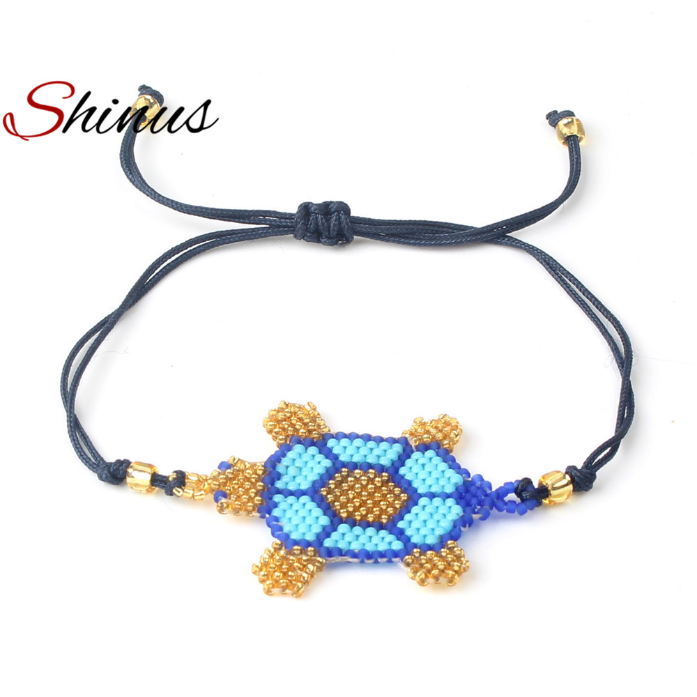 Shinus New Bracelet Women Bracelets Men Jewelry Bohemian Trendy Love Diy Seed Bead Handmade Sea Turtle Pattern Friendship Gifts