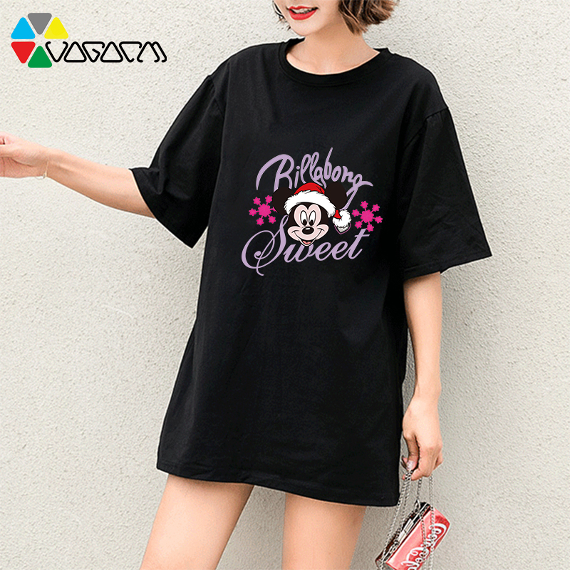 2019 Women Mickey Mouse T Shirts Fashion Streetwear Loose Short Sleeve Summer Casual Long T shirt Plus Size M 2XL Black Clothing in T Shirts from Women 39 s Clothing
