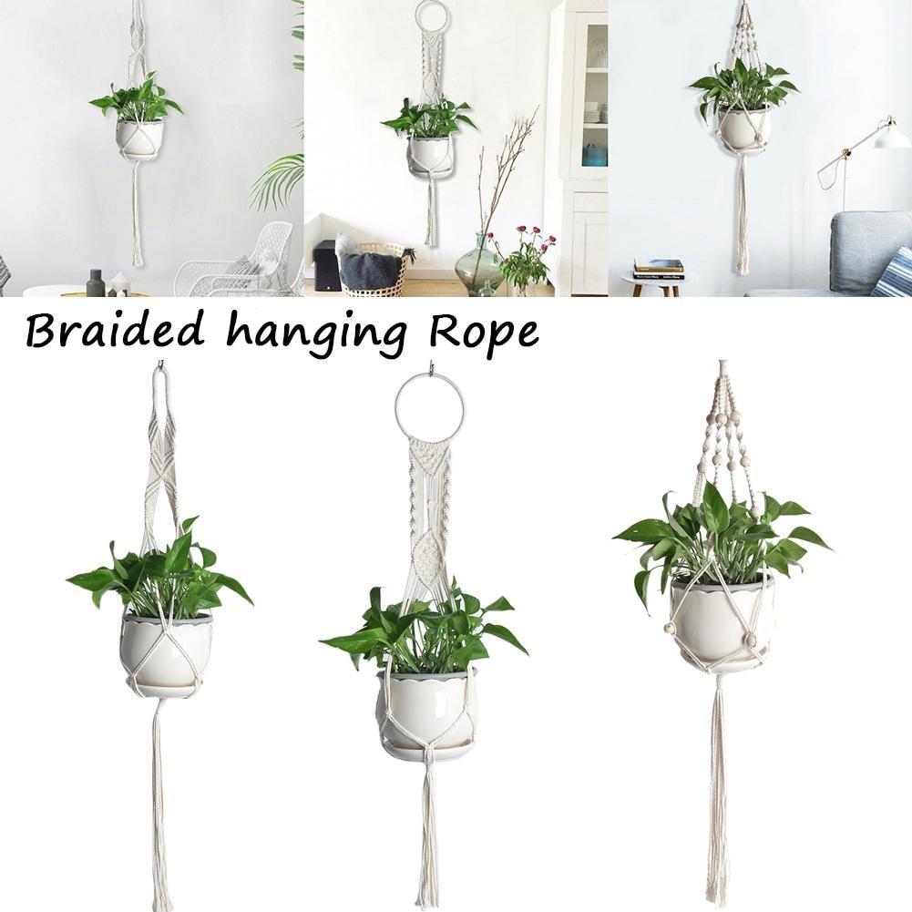 Macrame Woven Rural Plant Hanger Basket Rope Holder
