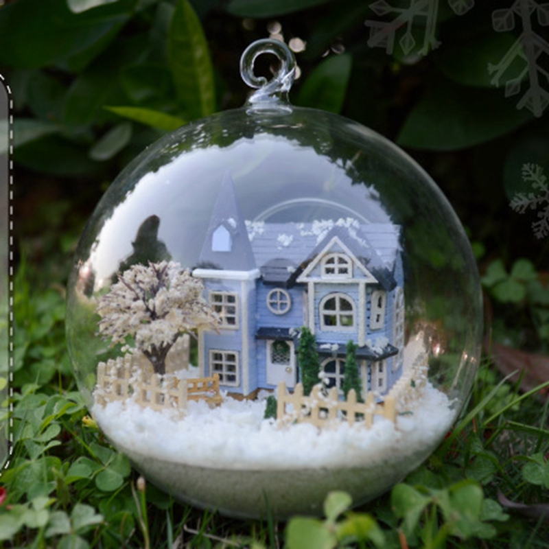 Diy Doll House With Furniture Mini Glass Ball Model Kits Handmade Wooden Miniature Dollhouse Toy Birthday Gifts Angel Fairy Town 3pcs flying doll house miniature dollhouse glass diy mini home ball hand housing with led lights wholesale