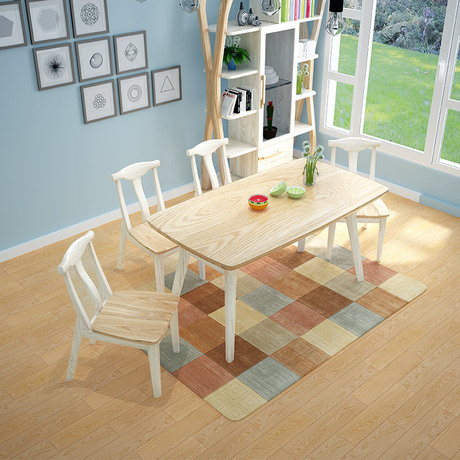 Dining Tables Chairs Set Room Furniture Home Solid Wood Rectangle