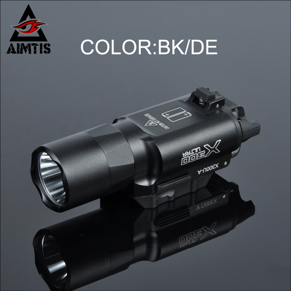 AIMTIS Tactical X300 Ultra Handgun LED Weapon Light Waterproof Hunting WeaponLights Tactical Spotlight CREE Q5 Flashlight aimtis x300 x300v flashlight tactical strobe light tac handgun scout flashtorch pistol weapon light rail mount ar rifle