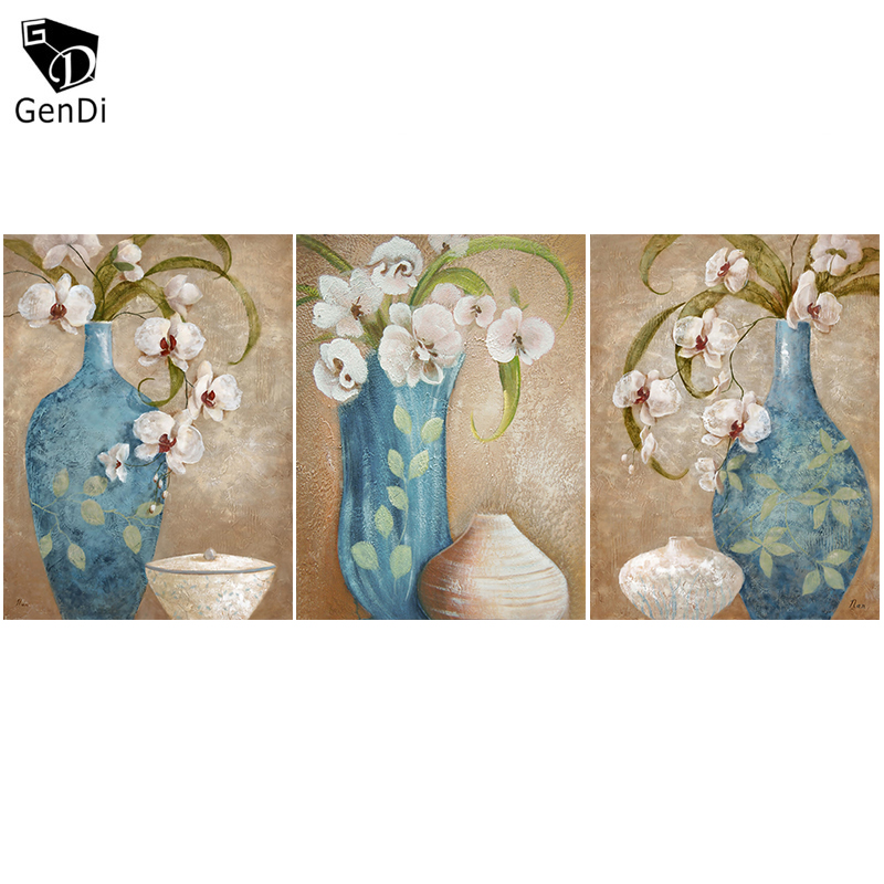 GenDi 3pcs Set Modern Home Wall Art Decor Flower Vase Canvas Printed Oil Painting Picture For Living Room Dining
