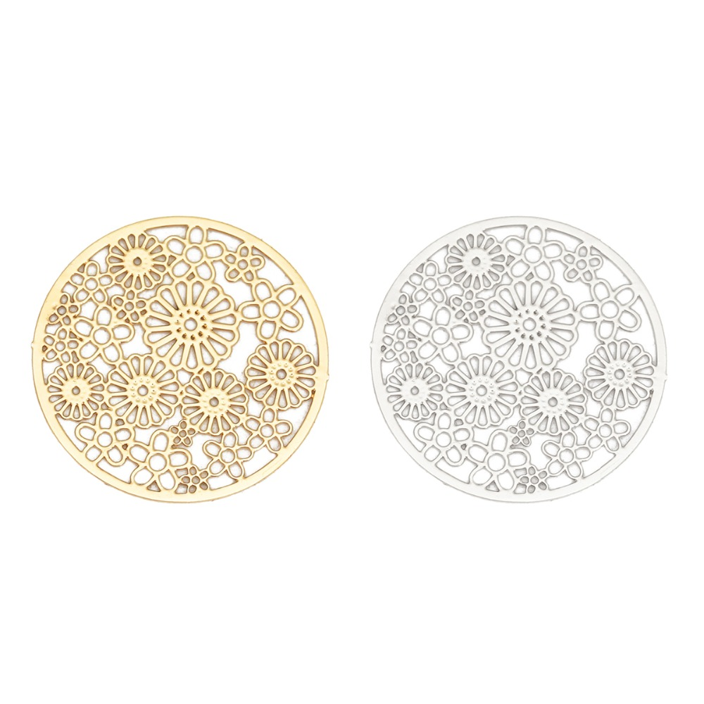 DoreenBeads Fashion Iron Based Alloy Filigree Stamping Connectors Round Silver Tone Gold Flower DIY Charms 23mm Dia, 10 PCs