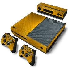 Transporte da gota livre ouro Console de PELE DecalSticker de Vinil Com A Pele Para XBOX Um Com Dois Fios # TN-Xboxone-2161