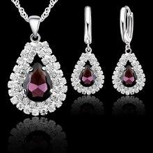 Новые женские 925 пробы, серебряные свадебные ювелирные наборы, изысканные подвески в форме капель воды, ожерелья, серьги, набор аксессуаров