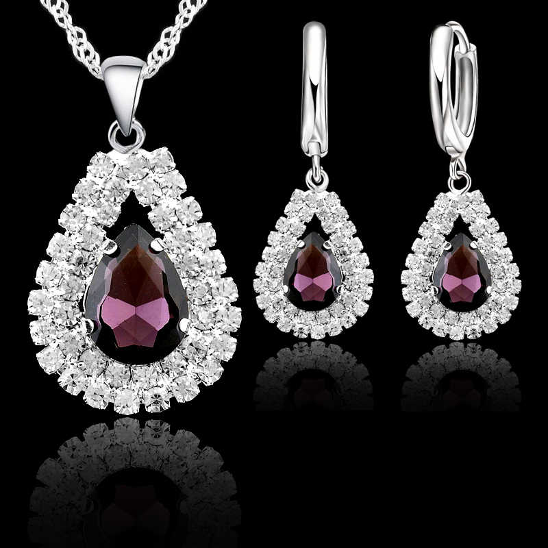 Baru Wanita 925 Sterling Silver Bridal Pernikahan Perhiasan Set Fine Air Drop Liontin Kalung Anting-Anting Set Aksesori