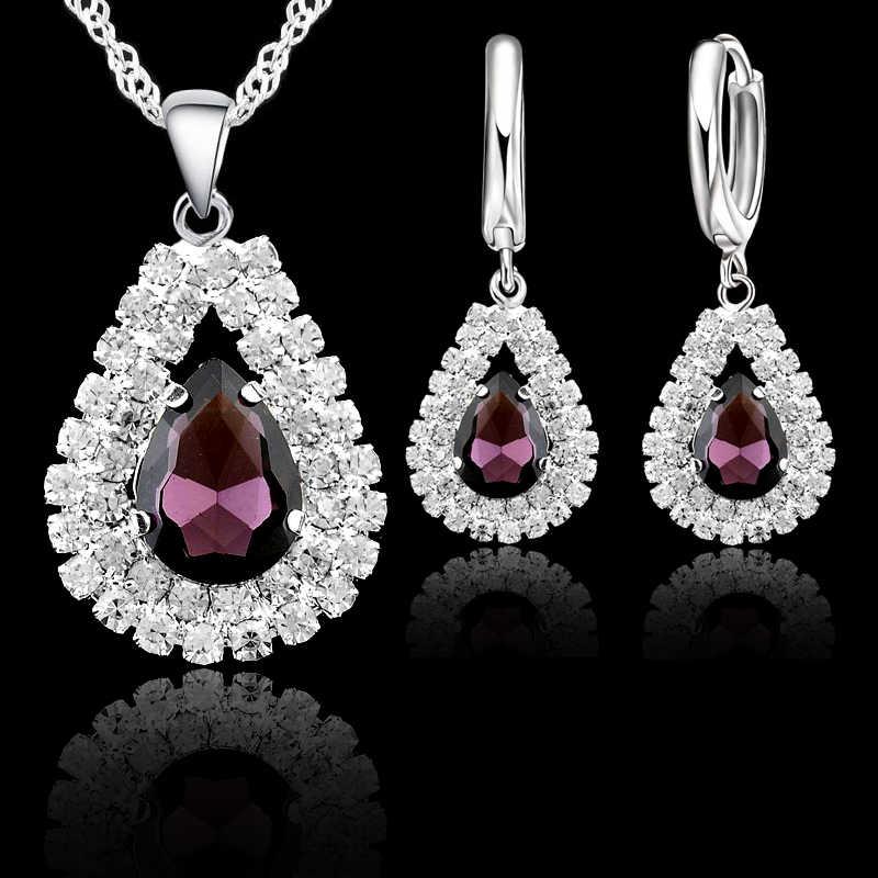Новые женские свадебные ювелирные наборы из стерлингового серебра 925 пробы, изысканные подвески в форме капель воды, ожерелья, серьги, набор аксессуаров