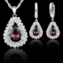 hot deal buy jemmin new women 925 sterling silver bridal wedding jewelry sets fine water drop pendants necklaces earring set accessory
