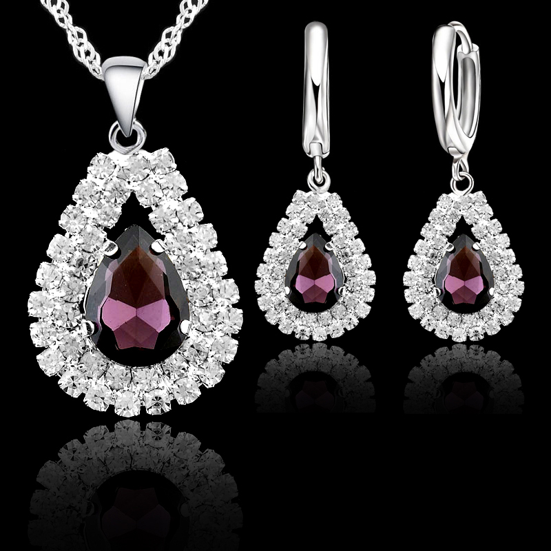 New Women 925 Sterling Silver Bridal Wedding Jewelry Sets Fine Water Drop Pendants Necklaces Earring Set Accessory