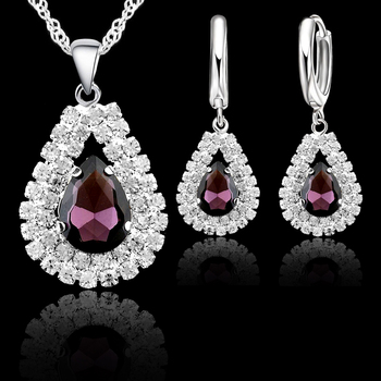 925 Sterling Silver Bridal Wedding Jewelry Sets Fine Water Drop Pendants Necklaces Earring Set