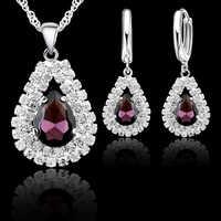 Nouveau femmes 925 en argent Sterling mariée mariage bijoux ensembles Fine goutte d'eau pendentifs colliers boucle d'oreille ensemble accessoire