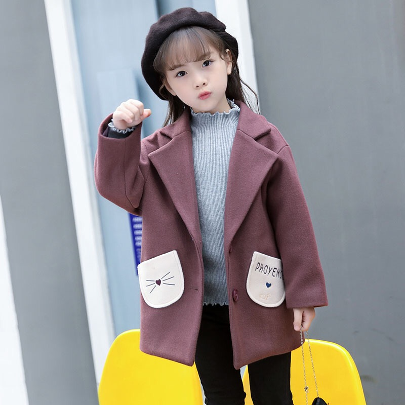 2017 New Winter Girls' Wool Tweed Coat Kids Woolen Coat Children Outercoat Girls Coat Baby Cute Coat,3-8Y,#2358 the new children s cubs hat qiu dong with cartoon animals knitting wool cap and pile